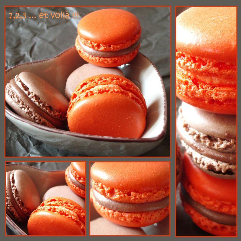 macarons chocolat, chocolat/orange et cointreau