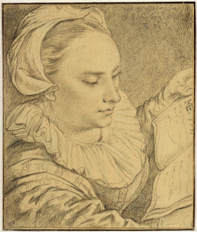 Hendrick Goltzius, Young Woman Reading a Book (Portrait of Sophia Goltzius, Sister of the Artist), Seen from Above, 1591