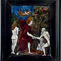 Trois plaques en email peint. france (limoges), xviième-xviième siècles