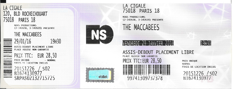 2016 01 The Maccabees Cigale Billet