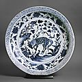 Blue-and-white dish with a kylin, or horned creature, Yuan dynasty, 2nd half of the 14th century