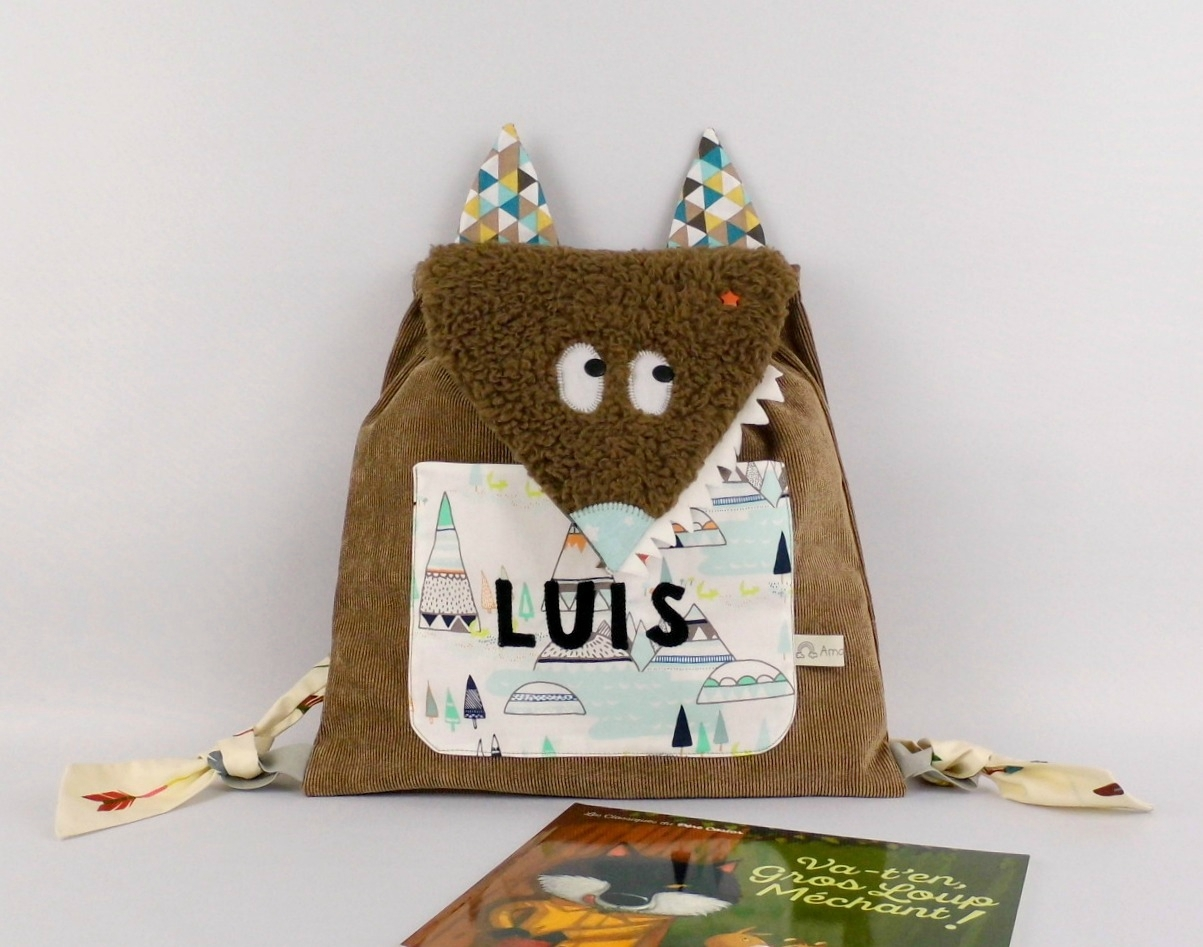 sac loup prénom Luïs marron vert menthe beige sac maternelle personnalisable kids backpack school wolf personalized name