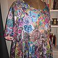 Robe RAYMONDE en coton imprimé kaléidoscope - manches raglan courtes - longueur genoux - taille unique (5)
