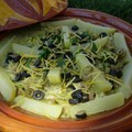 Tagine de lotte , chermoula aux olives et citron confit