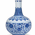 A ming-style blue and white bottle vase, qianlong seal mark and of the period (1736-1795)