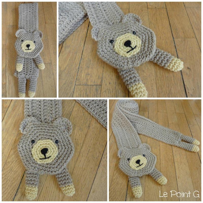 Echarpe nounours au crochet