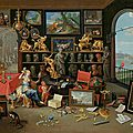Jan van kessel the elder (1626 antwerp 1679), an allegory of sight, a view of a collector's cabinet, circa 1660