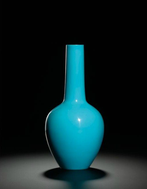 A turquoise-blue glass bottle vase. Wheel-cut mark and period of Qianlong. Photo Sotheby's