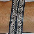 Bracelet 'Esprit du Nord' en cuir brodé et tissé