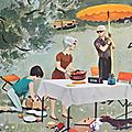 Collection ... affiche au bord de l'eau * pêche / pique-nique