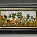 Attributed to the medici grand ducal workshops, panel with hunters, italian, florence, second half 17th-early 18th century