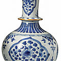 A blue and white bottle vase for the indian market, qing dynasty, kangxi period (1662-1722)