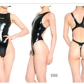 Thong rubber competition swimsuit Realise Black ultra glossy