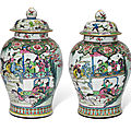 A pair of massive and superbly-decorated famille rose baluster jars and covers, yongzheng period (1723-1735)
