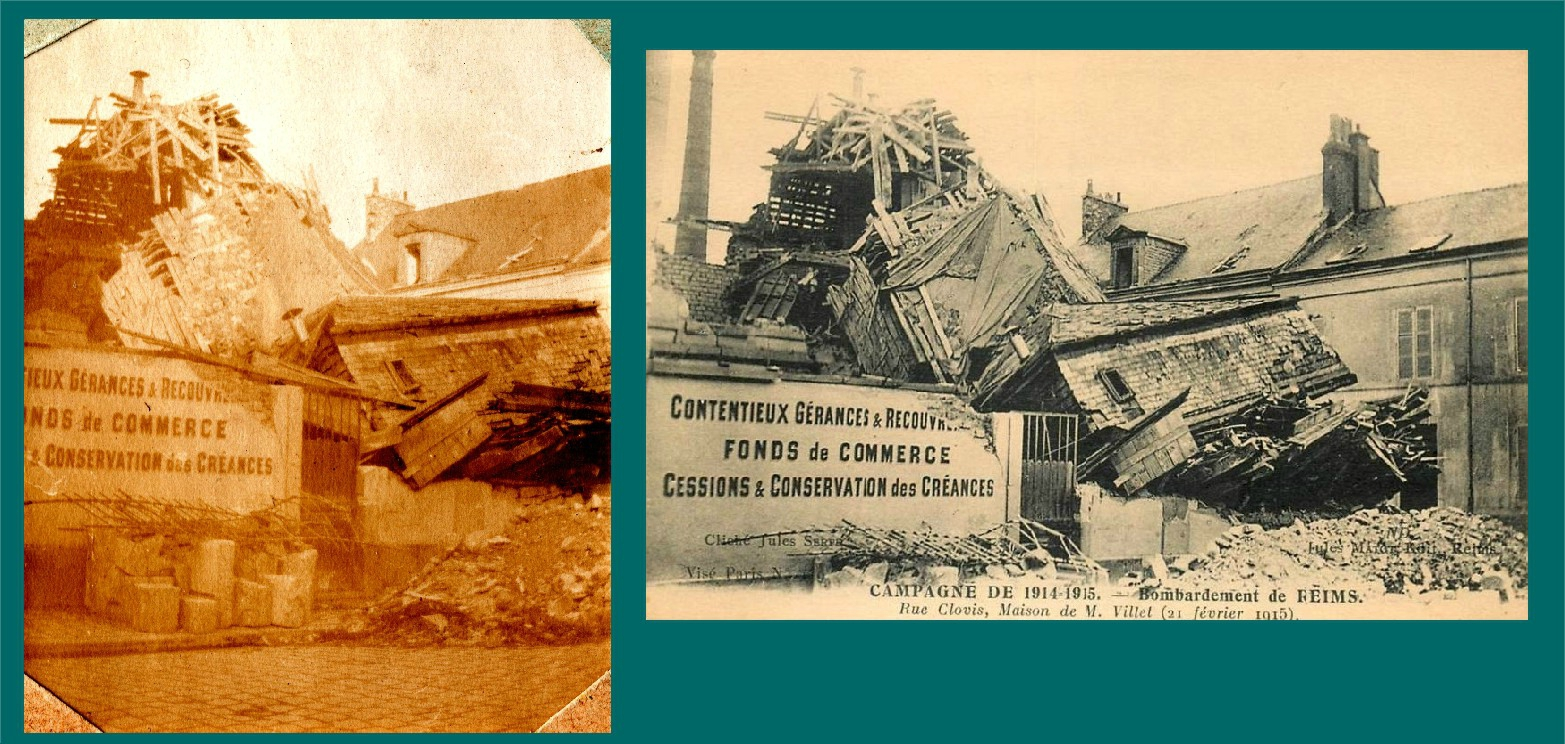 Bombardements de Reims (Marne), destruction rue Clovis Maison de M. Villet