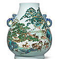 A fine magnificent and exceptionally rare yangcai 'hundred deer' blue-handled vase, hu, qianlong mark and period (1736-1795)