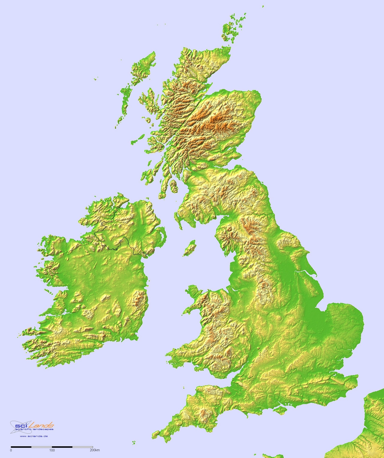 angleterre-Topographic hillshade map of Great Britain and Ireland