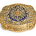A jewelled gold and frosted glass presentation box, hanau, circa 1871