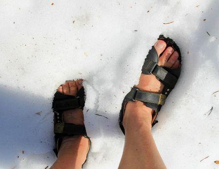 Sandaler i snø