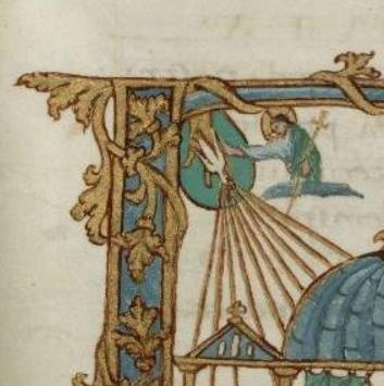 Trinité à la Pentecôte, détail, Sacramentaire de Metz, IXe s