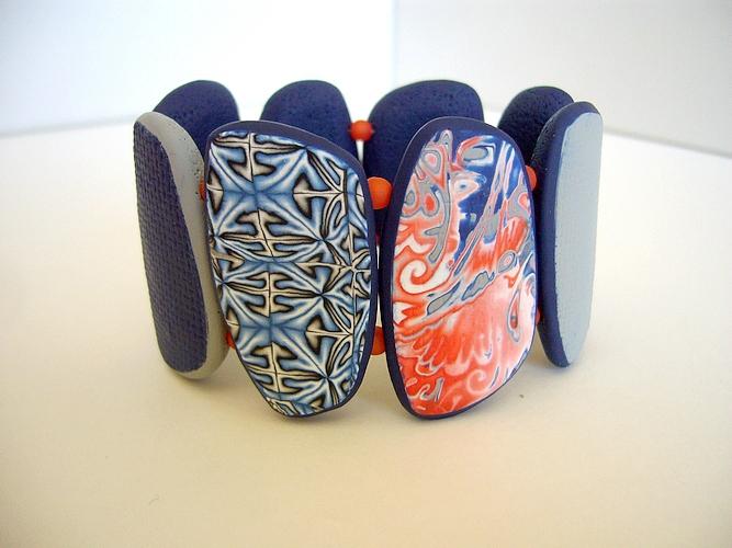 bleu corail bracelet manchette