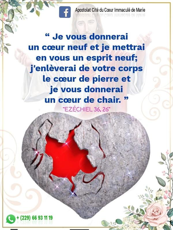 «Je vous donnerai un cœur neuf et je mettrai en vous un esprit neuf; j'enlèverai de votre corps le cœur de pierre ...