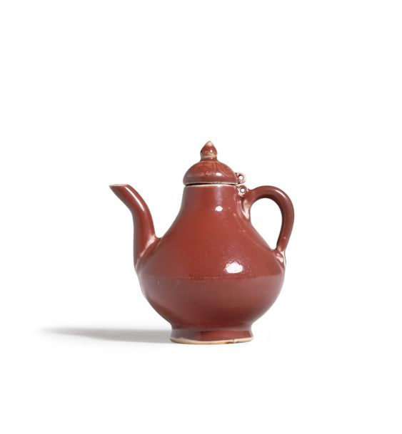 An Extremely Rare Copper-Red Ewer and Cover, Yuan or Early Ming Dynasty, 14th Century