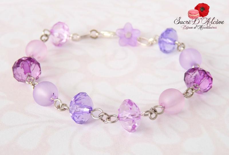 Bracelet fantaisie fillette perles violettes (5)