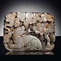 A rare white jade openwork rectangular plaque, yuan dynasty (1279-1368)