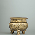 A yaozhou carved celadon tripod censer, northern song-jin dynasty, 12th-13th century