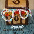Coffre de pirate version fille gâteau chocolat face