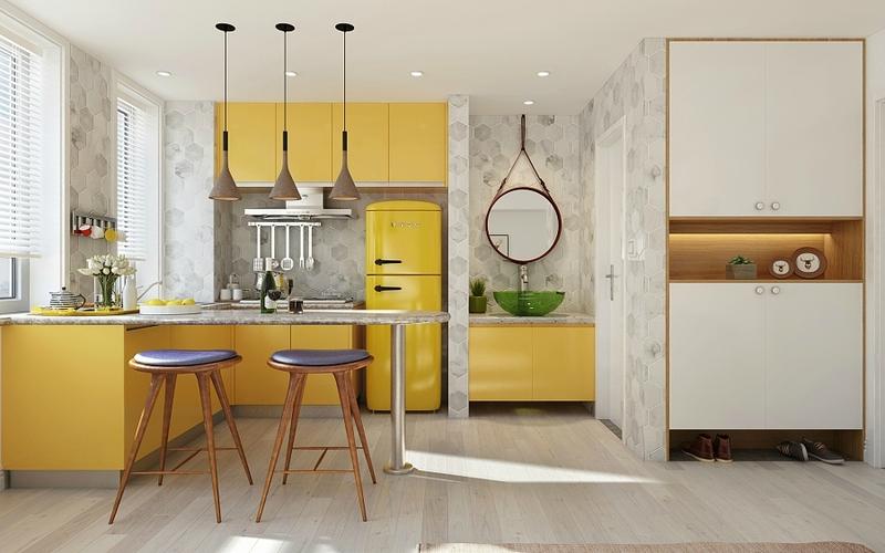 mustard-cabinet-kitchen-three-hanging-copper-lights
