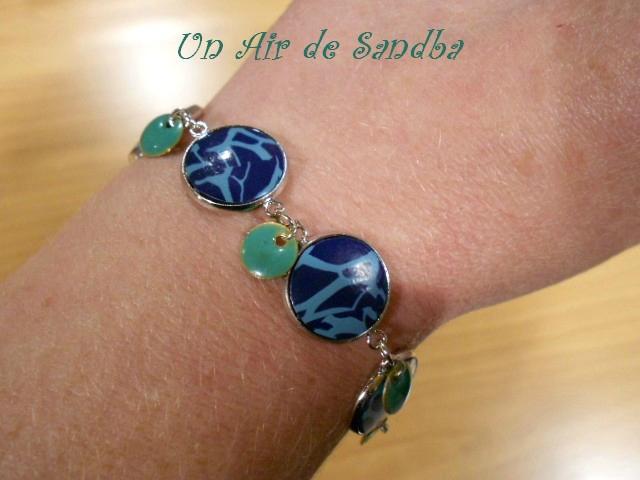 Bracelet réglable Craquelé bleu (3)