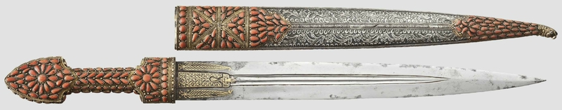 A magnificent Georgian qama, silver-mounted and set with corals, dated 1812