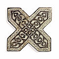 Two lustre pottery cross tiles, kashan, central iran, dated ah 691/1294-95 ad