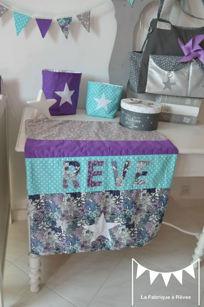 couverture bébé polaire coton étoiles nuage rêve turquoise gris violet liberty mauvey