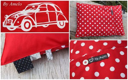 Coussin 2cv rouge montage
