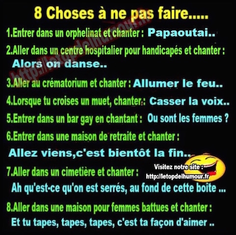 8 choses a ne pas faire