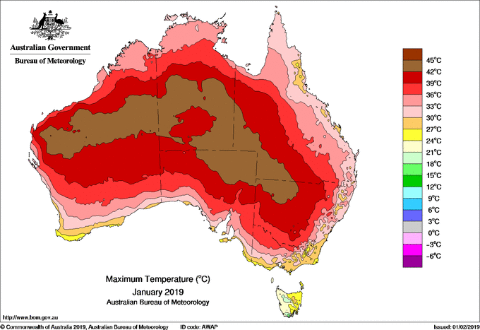 Australia's Bureau of Meteorology has announced it was the country's hottest January ever recorded