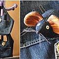 souris et sac en jeans