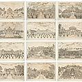 Douze gravures sur vélin représentant l'ancien palais d'été yuanmingyuan, paris, 1977