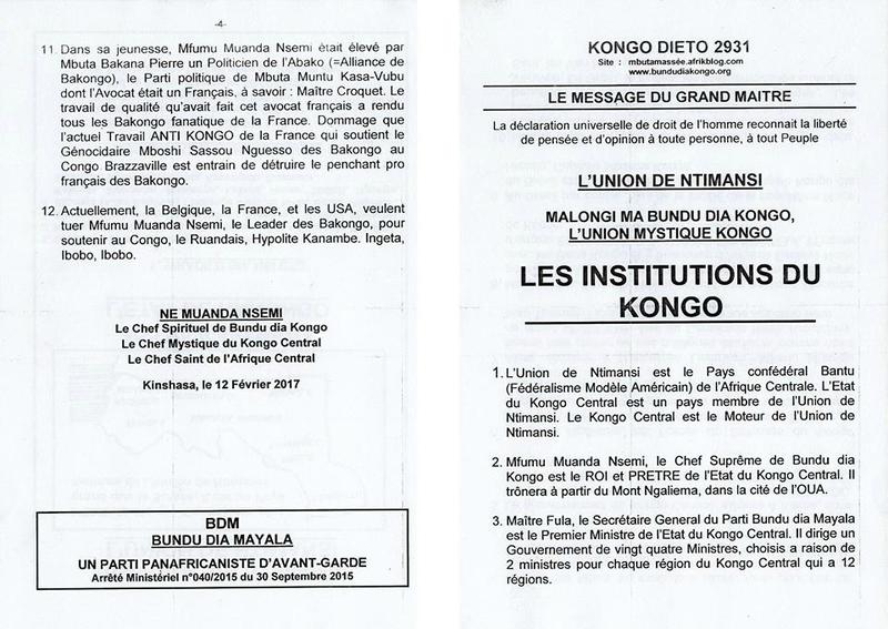 LES INSTITUTIONS DU KONGO a