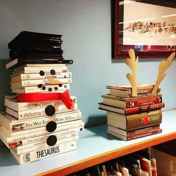 Snowman-and-rudolph-Book-Stacks