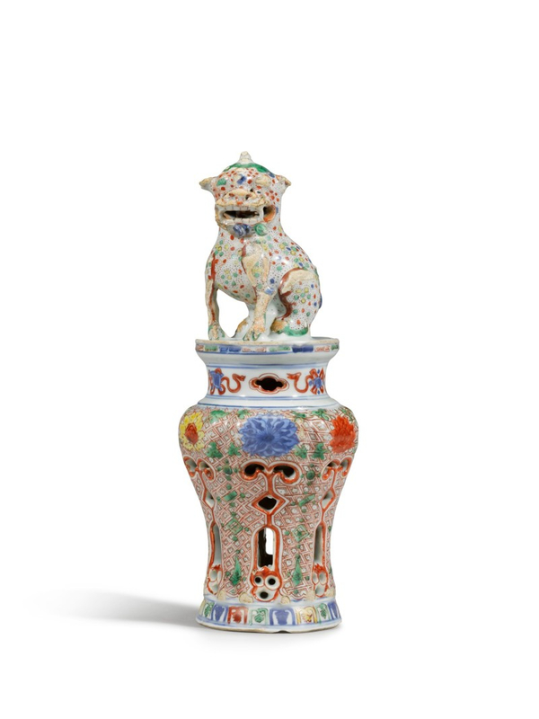 An very rare wucai reticulated incense burner and cover, Ming dynasty, 16th-17th century