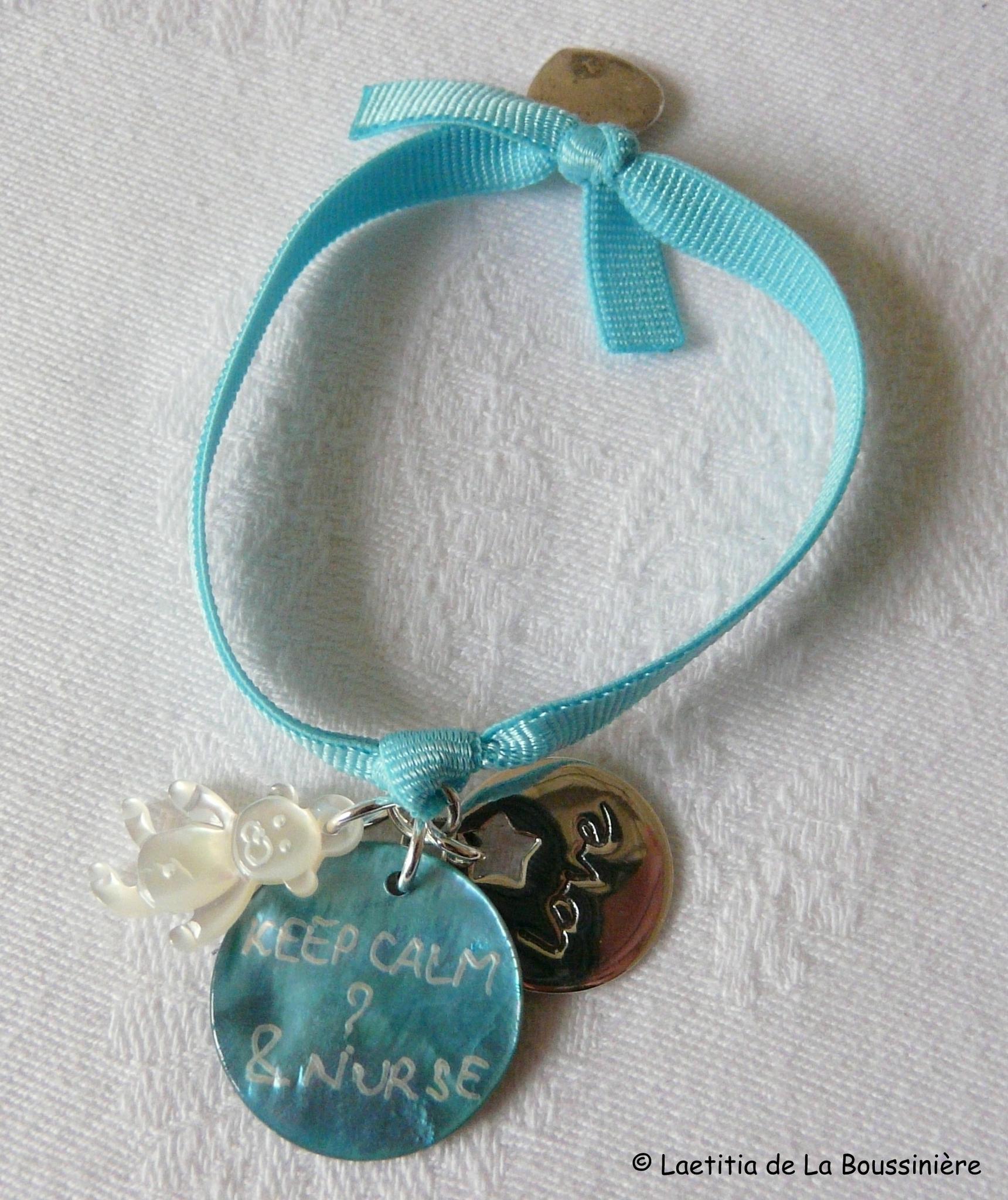 Bracelet d'allaitement (Keep calm & nurse) - nounours et médaille Love