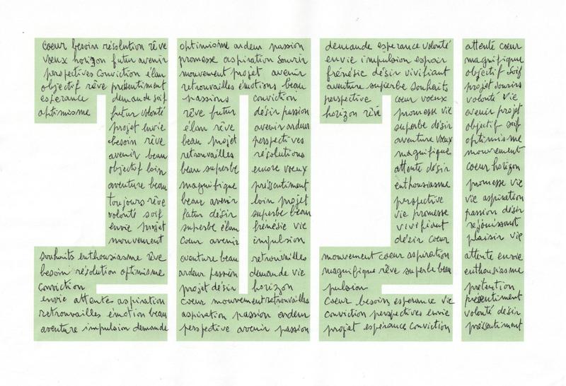 2021 mots sur fond vert