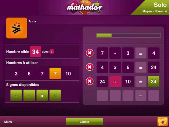 Concours Mathador et jeu en ligne