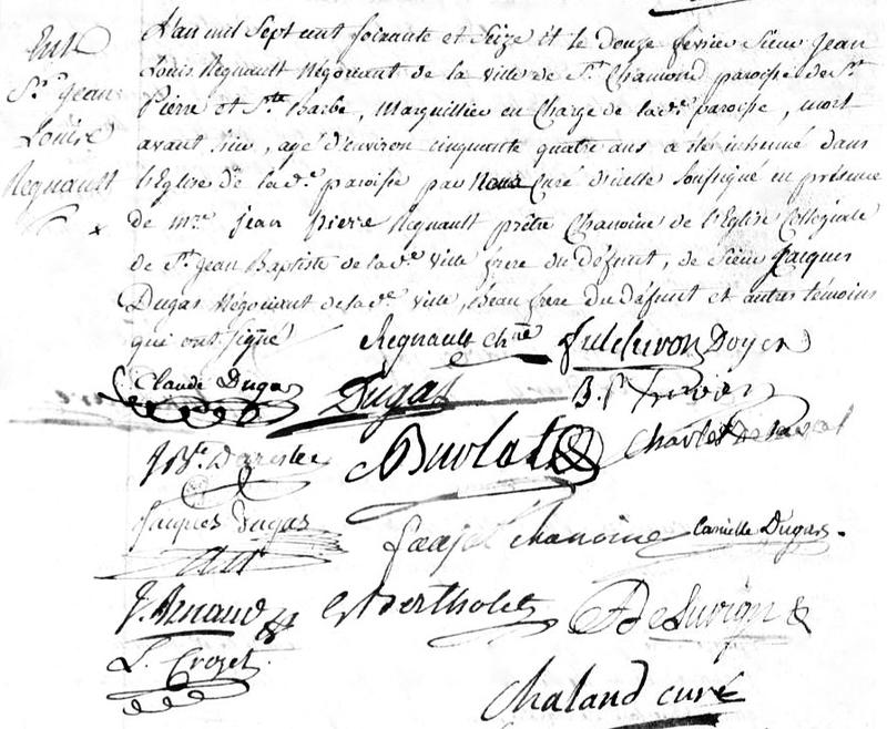 décès Jean-Louis Régnault 1776