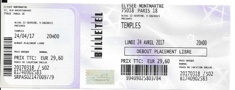 2017 04 24 Temples Elysée Montmartre Billet