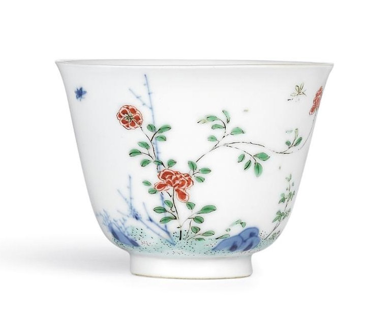 A fine and very rare wucai 'Rose' month cup, Mark and period of Kangxi (1662-1722)